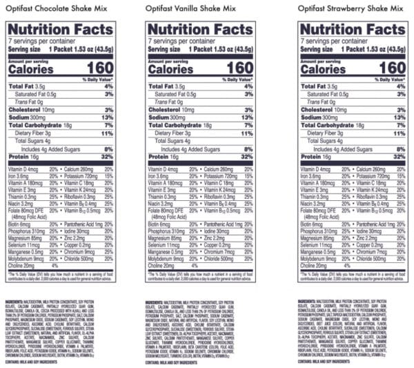 Optifast 800 Nutrition Info