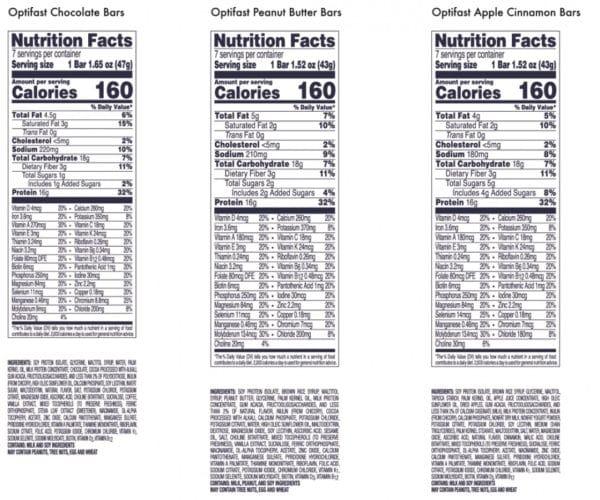 Optifast Bar Nutrition Info