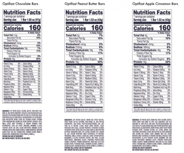 Optifast Bar Nutrition Info